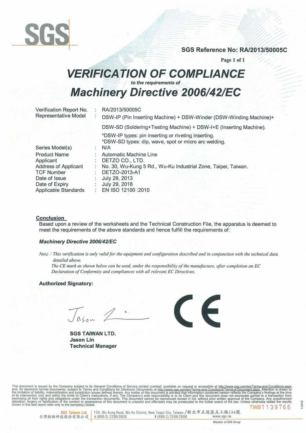 Ce certification sgs detzo co ltd last page 1betcityfo Choice Image